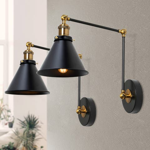 Carbon Loft Black Plug-in Swing Arm Sconces Industrial Wall Lamps-Set of 2