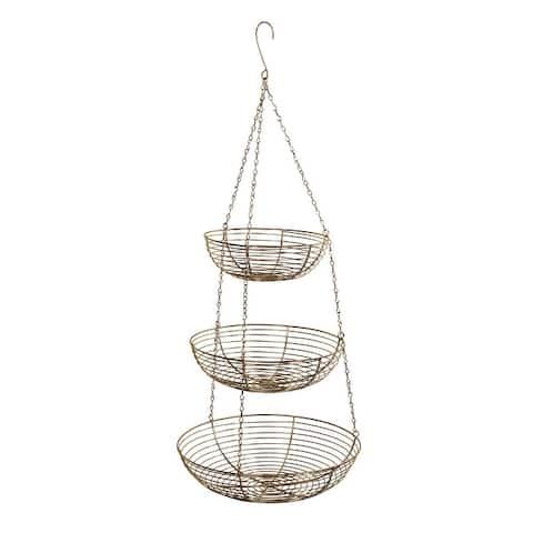 3 Tier Hanging Metal Basket in Gold/Copper
