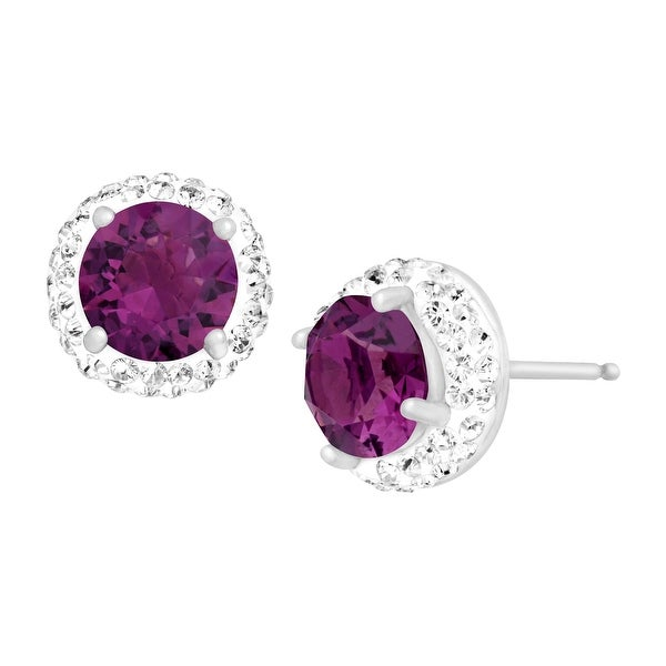 Crystaluxe February Earrings with Purple Swarovski Crystals in Sterling Silver