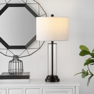 """Link to Safavieh Lighting 26-inch Cassian Glass Table Lamp - 14"""" x 14"""" x 26"""" Similar Items in Table Lamps"""
