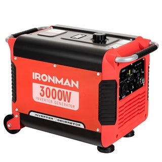 IRONMAN 3000W Portable Inverter Gasoline Generator Ultra Quiet 4 Stroke Single Cylinder - Red and Black