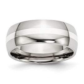 Chisel Sterling Silver Center Polished Stainless Steel Ring (8.0 mm) - Sizes 6-13