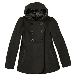 Rothschild Little Girls Black Double Breasted Slant Pockets Hooded Coat