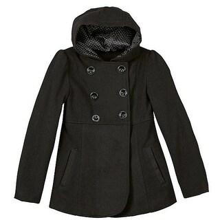 Rothschild Little Girls Black Double Breasted Slant Pockets Hooded Coat