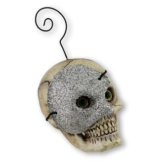 Bethany Lowe Skull with Silver Mask Ornament/Placecard Holder