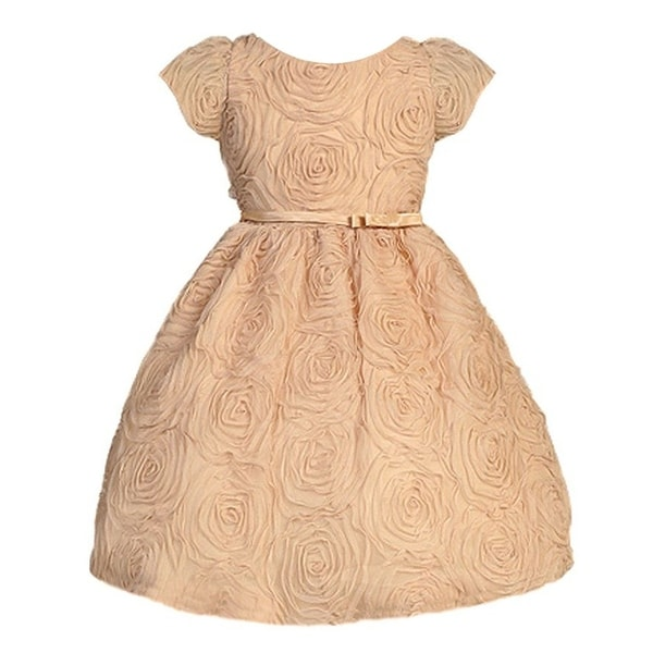 Sweet Kids Baby Girls Champagne Rosette Textured Flower Girl Dress 6-24M