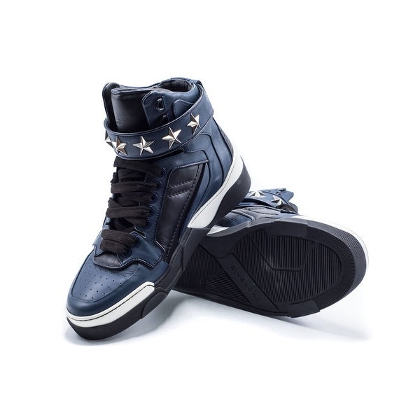 quality design 14d64 a4867 Shop Givenchy Navy/Black Leather High Top Sneaker Stars - 41 ...