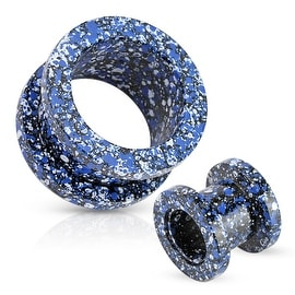 Blue and White Splatter 316L Surgical Steel Screw Fit Tunnel (Sold Individually)