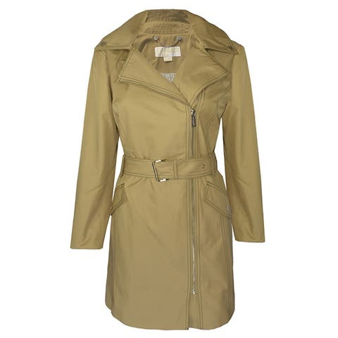 Michael Michael Kors Womens Khaki Asymmetrical Closure Belted Trench Coat