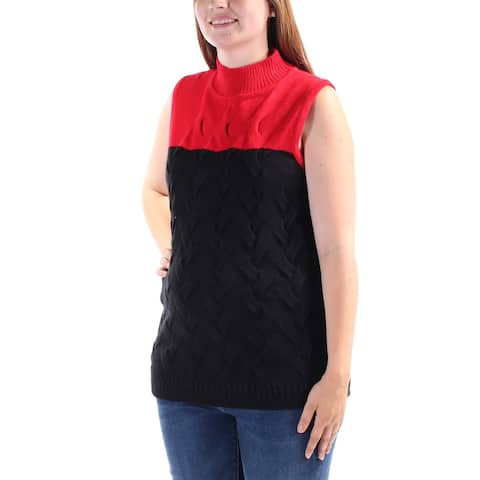 CALVIN KLEIN Womens Black Textured Color Block Sleeveless Turtle Neck Vest Sweater Size: L
