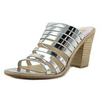 Dolce Vita Lorna Women Open Toe Leather Silver Slides Sandal