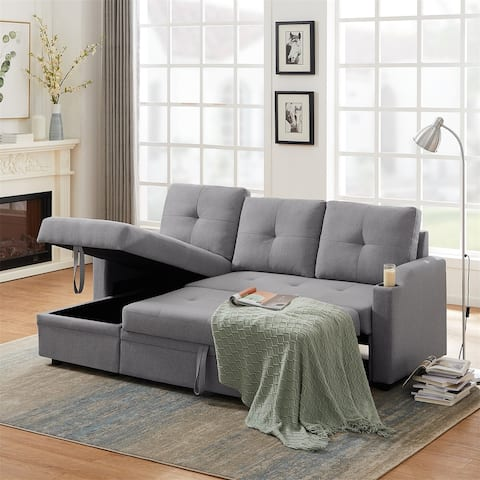 Merax Reversible Sleeper Sofa Bed with Storage Chaise and Two Cupholders
