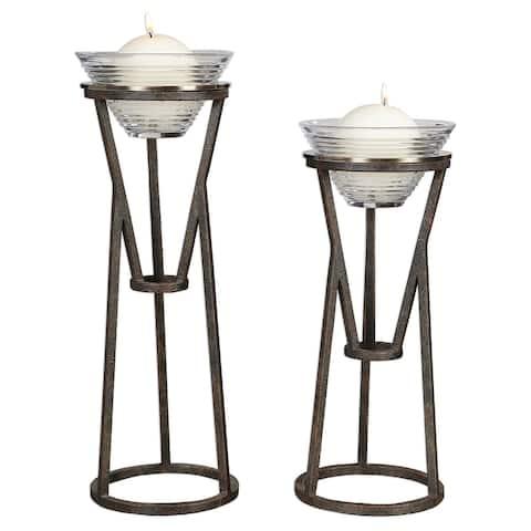 """19.75"""" Coffee Bronze Lane Iron Candleholders Set of 2"""