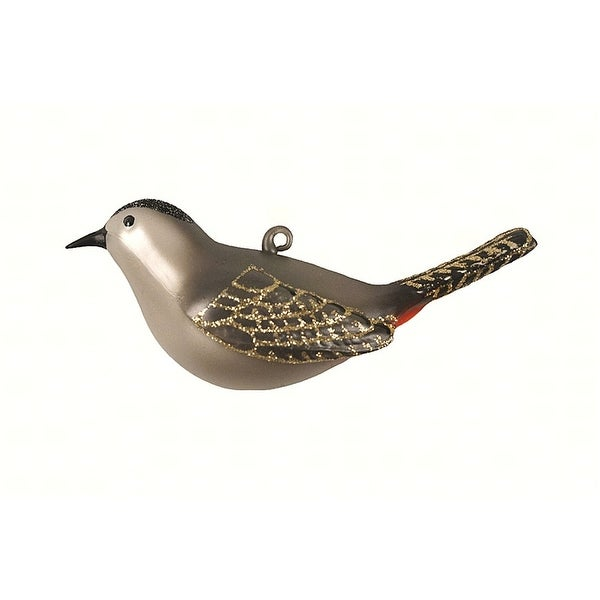 "4.25"" Gray and Gold Catbird Hanging Glass Ornament - N/A"