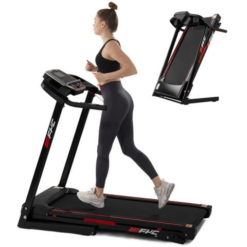 2.5HP Folding Electric Treadmill With Incline&LED Display,Black
