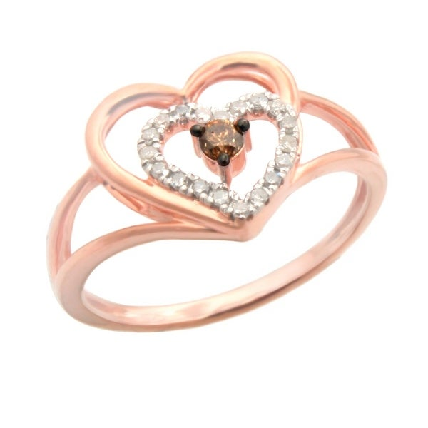 Lovely 0.17ct Brown Color Natural Diamond with Natural Diamond Valentine Ring