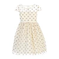 0eb27b3f1840 Sweet Kids Girls Ivory Gold Polka Dotted Overlay Occasion Dress 7