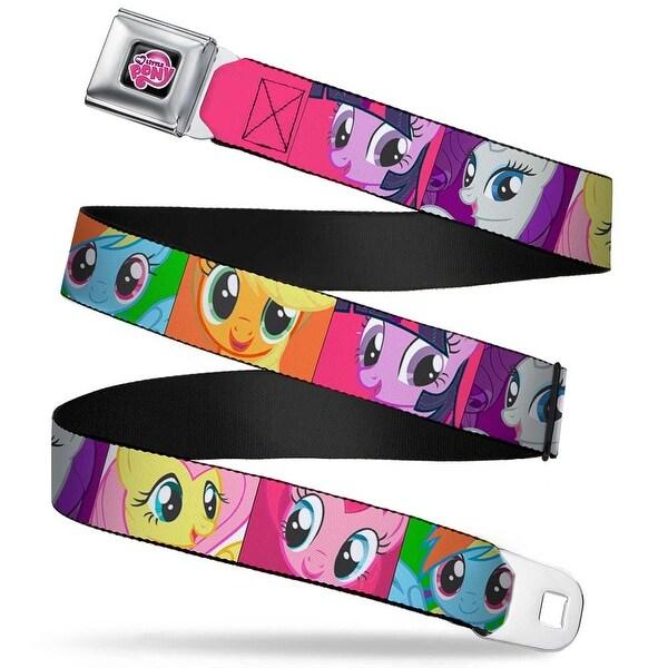 My Little Pony Logo Full Color Black Pink Pony Faces Close Up Blocks Pink Seatbelt Belt