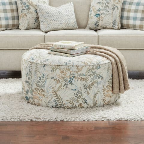 Furniture of America Marais Transitional Ivory Chenille Ottoman