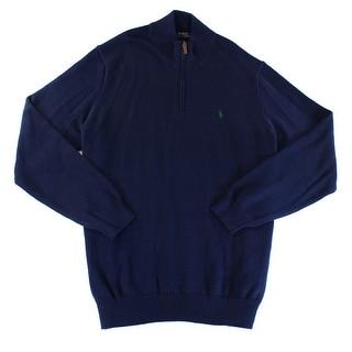 Polo Ralph Lauren NEW Blue Mens Size 2XLT Quarter Zip Knit Sweater