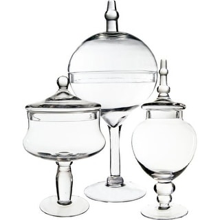 CYS® Candy Buffet Glass Apothecary Jars/Vase Container, Set of 3