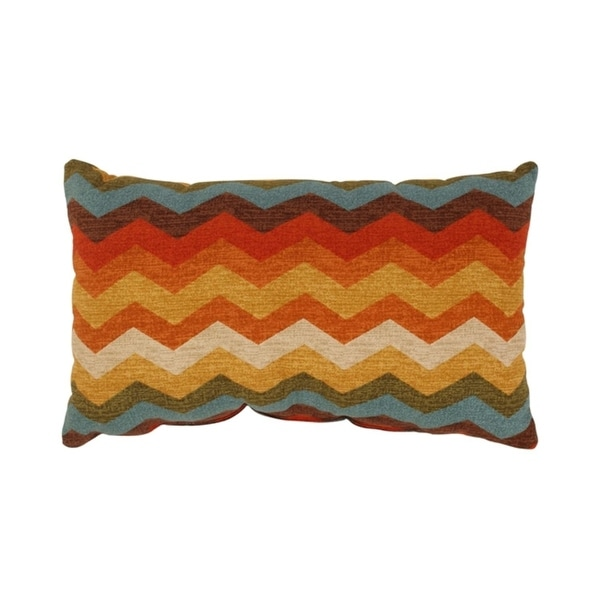 "Panama Wave Rainbow Chevron Zig Zag Striped Cotton Throw Pillow 11.5"" x 18.5"""