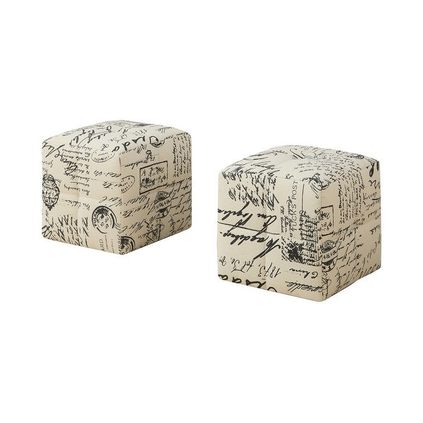 """Set of 2 White and Black Contemporary Cubic Upholstered Ottomans 12"""" - N/A"""