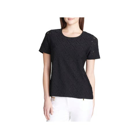 Calvin Klein Womens Pullover Top Lace Short Sleeves