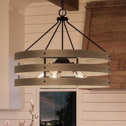 "Luxury Modern Farmhouse Pendant Light, 22.75""H x 27.75""W, with Rustic Style, Charcoal Finish by Urban Ambiance"