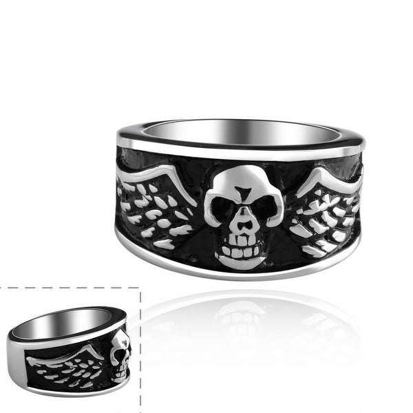 Vienna Jewelry Skull Wing Embelm Ring Band
