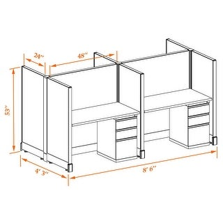 Office Cubicle Desk 53H 4pack Cluster Unpowered (2x4 - White Desk Silver Paint - Assembly Required)