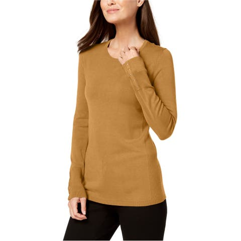 JM Collection Womens Studded Cuff Pullover Sweater, Yellow, Large