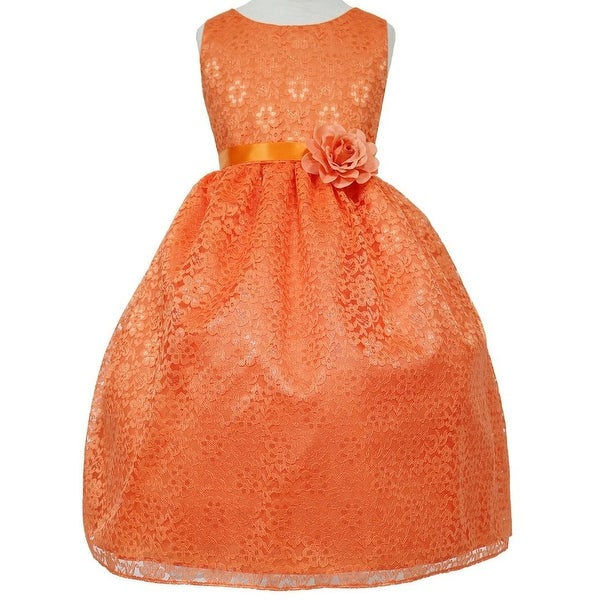 36328e1b53803 Shop Floral Pattern Lace Flower Girl Dress Orange CA 749 - Free ...
