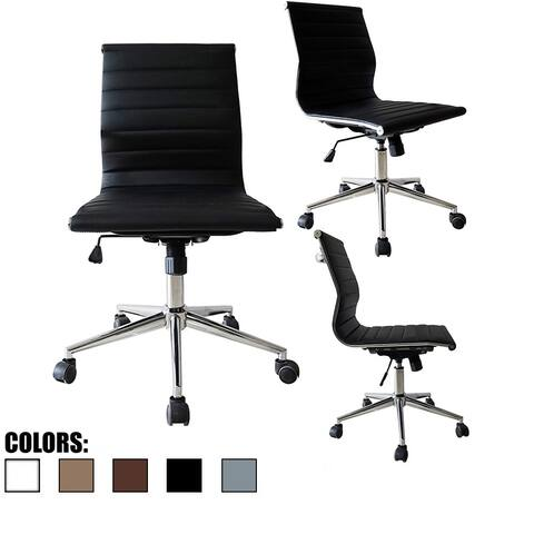 2xhome Swivel Adjustable Height PU Leather Office Chair Mid-Back Armless No Arms Side Ribbed Executive Ergonomic Task Work