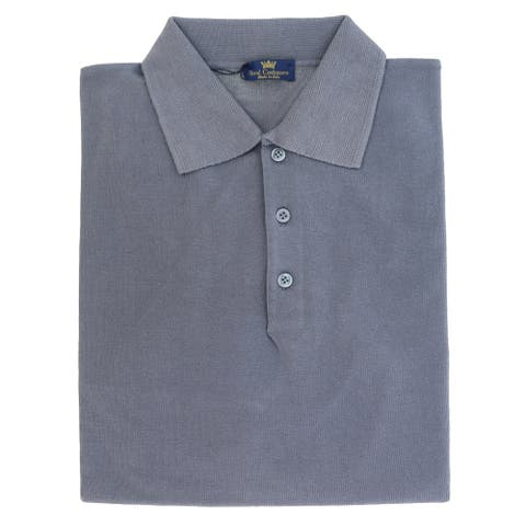 Cotton-Modal Blend Polo Big Mens Indigo Sweater by Real Cashmere