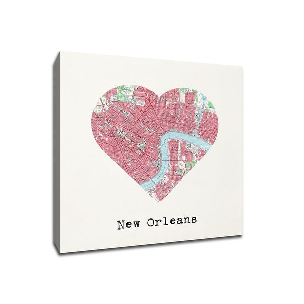 New Orleans - City Map to My Heart - 20x20 Gallery Wrapped Canvas Wall Art