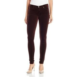 AG Jeans The Legging Super Skinny Stretch Velveteen Pants Bordeaux Brown