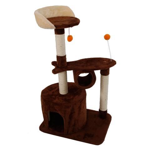 "39"" Stable Cute Sisal Cat Climb Holder Cat Tower Coffee"