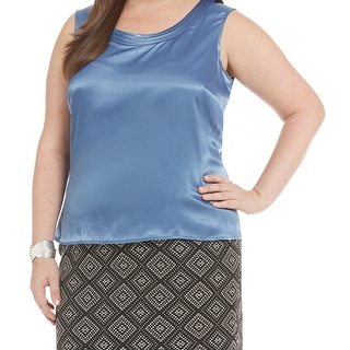 Kasper NEW Blue Women's Size 1X Plus Charmeuse Pleated Tank Cami Top