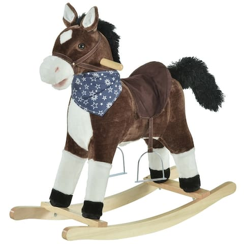 Qaba Kids Plush Ride-On Rocking Horse Toy Cowboy Rocker with Fun Realistic Sounds for Child 3-8 Years Old