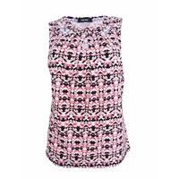Nine West Women's Plus Size Ikat-Print Cutout Shell Top (1X, Pimento Multi) - Pimento Multi - 1X