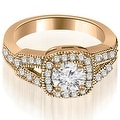 1.10 cttw. 14K Rose Gold Antique Round Cut Diamond Engagement Ring - Thumbnail 0