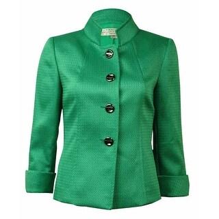 Tahari Women's Cuffed Four Button Textured Blazer