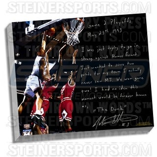 John Starks Facsimile 'Game 2 Dunk Over Jordan' Stretched 22x26 Story Canvas