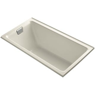 "Kohler K-855-L Tea-for-Two Collection 66"" Three Wall Alcove Cast Iron Soaking Bath Tub with Left Hand Drain"
