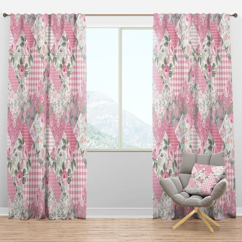 Designart 'Decorative Patchwork Floral Pattern' Modern Blackout Curtain Panel