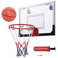 Gymax Over-The-Door Mini Basketball Hoop Includes Basketball & Hand Pump Indoor Sports - as pic