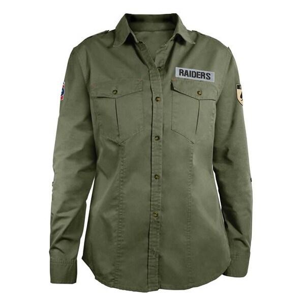 sports shoes 62347 02bf5 Little Earth NFL Military Shirt, Medium - Oakland Raiders
