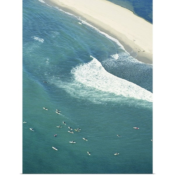 """USA, California, Malibu, aerial view of Surfriders Beach"" Poster Print"