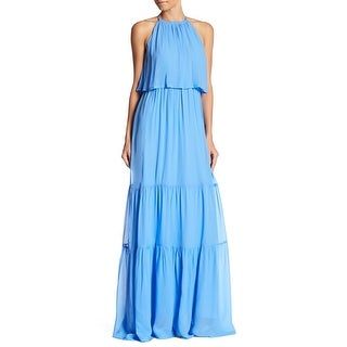French Connection Blue Womens Size 4 Halter Popover Maxi Dress